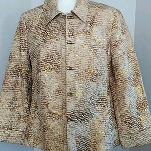 Chico's Gold and Glitter light weight Jacket. M/8